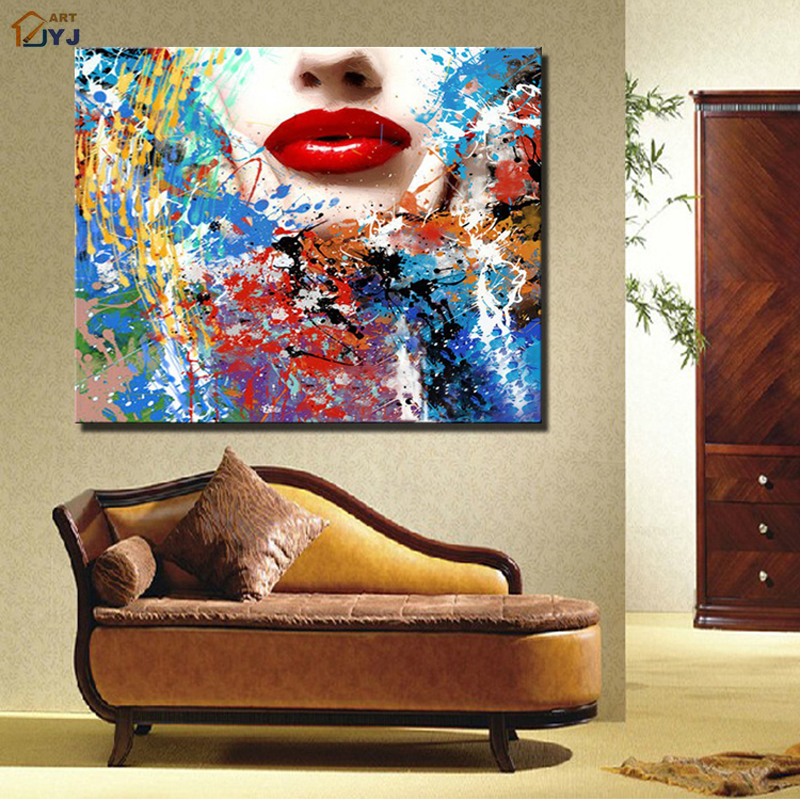 Red Lips Pop Art Artistic Canvas Wall Art Picture Real Handpainted Modern Abstract Oil Painting