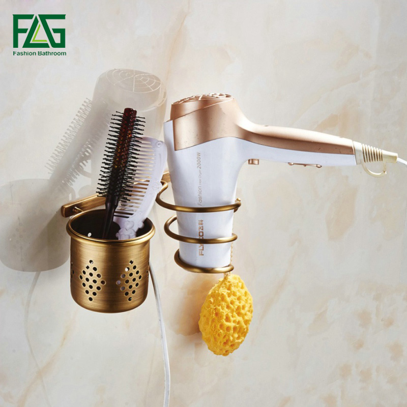 FLG Hair Dryer Holder With Cup Households Rack Hair Blow Dryer Shelf Wall Mounted Bathroom Accessories Antique Hair Dryer Rack hair dryer holder antique brass hair blow dryer holder bathroom shelf rack wall mounted washroom accessories bath stand et 300