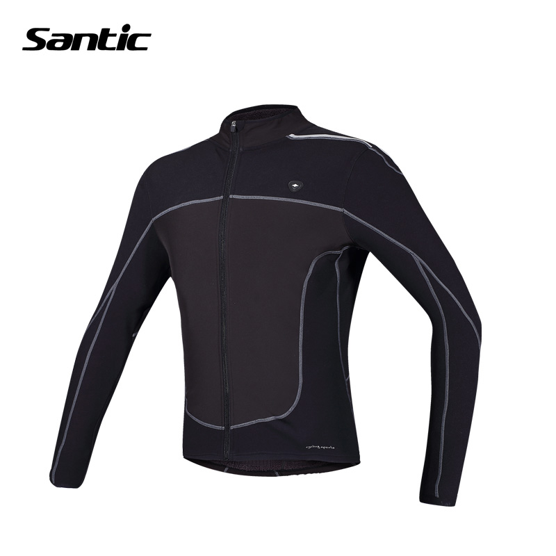 ФОТО Santic Windproof Cycling Jacket Men Long Sleeve Winter Thermal Fleece Breathable Jacket MTB Road DH Sport Bicycle Bike Jackets