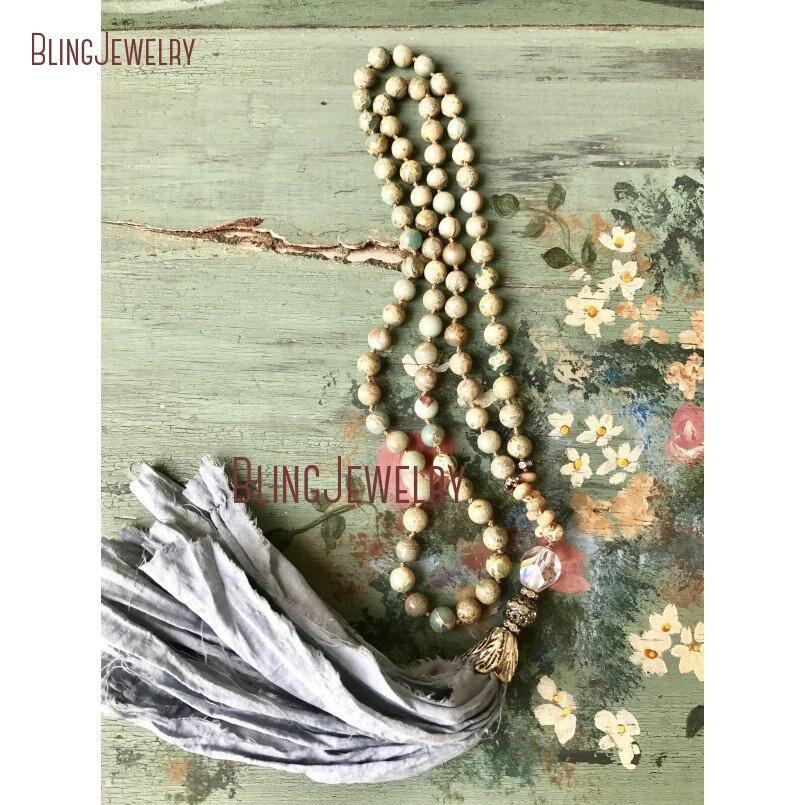 Shabby BoHo Necklace Grayish Blue Sari Silk Tassel Knoting Sea Sediment Jaspers Beads Necklace NM18296
