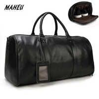 MAHEU, натуральная коровья кожа, дорожные сумки, водонепроницаемые, мужские кожаные сумки на ночь, ручная кладь, Мужская сумка для выходных, де...