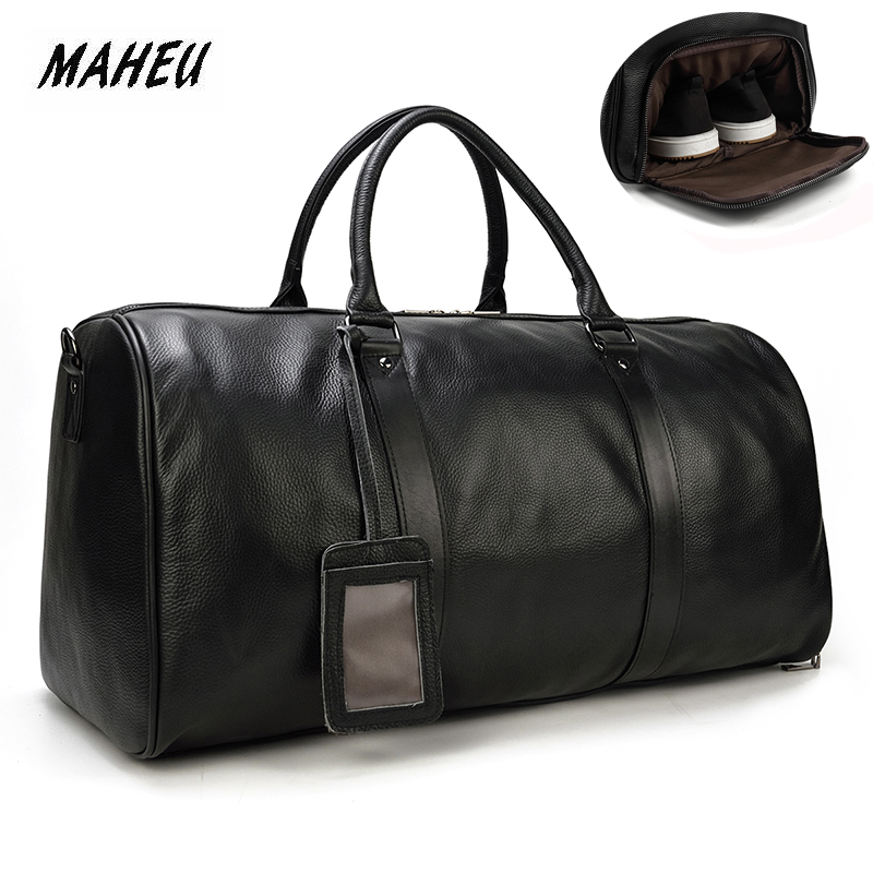 MAHEU Natural Cow Skin Travel Bags Waterproof Men's Leather Overnight Bags Hand Luggage Men Male Weekend Bag Business Man 55cm|Travel Bags| - AliExpress