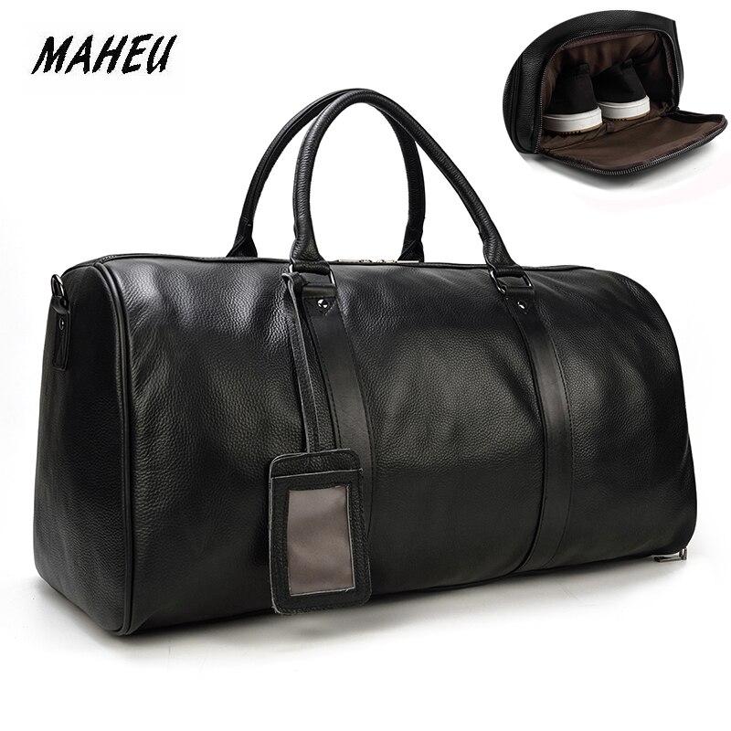 MAHEU, натуральная коровья кожа, дорожные сумки, водонепроницаемые, мужские кожаные сумки для сна, ручная кладь, мужская сумка для выходных, деловая, мужская, 55 см