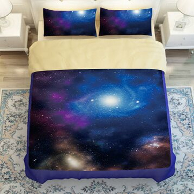 New Galaxy Bed Set Earth Moon Print Gorgeous Unique Design Outer Space Quilt Cover Set 3/4pcs Twin/Full/Queen Size Free Shipping