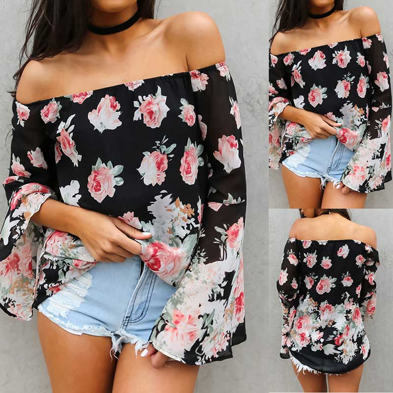 Slash Neck Long Flare Sleeves Floral Print Strapless T-Shirts