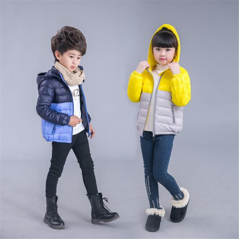 2018 Winter Children Ultralight Down Jackets for Boys Girls White Duck Patchwork Blue Little Kids Hooded Zipper Coats