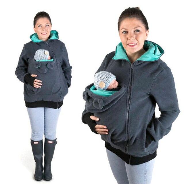 Women Sweatshirts Fleece Baby Carrier Wearing Hoodies Sweatshirts Baby Frock Casual Zipper Pregnant Kangaroo Hoodies pullovers