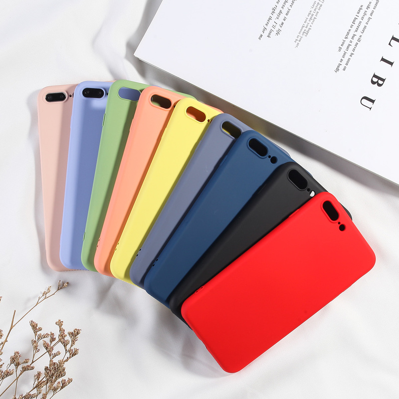Candy Color Phone Cover For iPhone 7 Plus Case Luxury Liquid Soft TPU Silicone Back Capa For iPhone 6 6s Plus 7 8 X XS XR XS Max-in Fitted Cases from Cellphones & Telecommunications