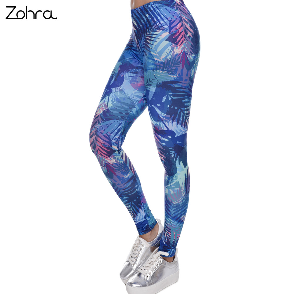 Zohra New Fashion Women   Leggings   Tropical Leaves Printing Blue Fitness   Legging   Sexy Silm Legins High Waist Stretch Trouser Pants