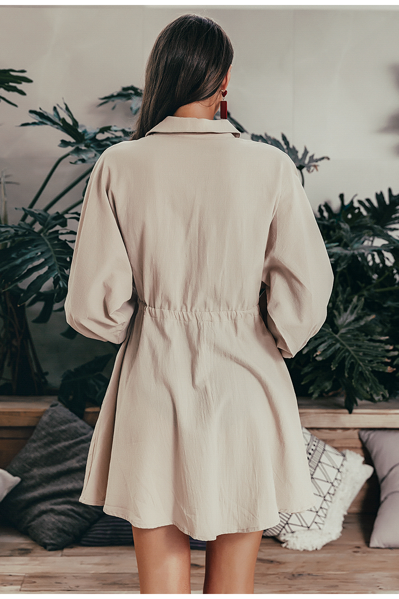 Simplee Elegant linen short shirt dress women Long sleeve cotton dress buttons female vestidos Vintage summer dresses casual 7
