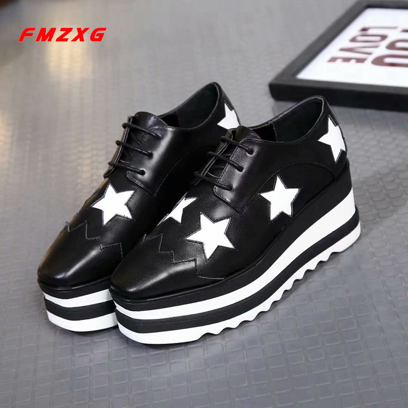 FMZXG Wedges Platform Women Shoes Luxury Brand Flats Genuine Leather Fashion Casual Wedge Designer Woman Shoe Women Sandles Shoe