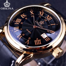 Orkina Classic Roman Series Calendar Display Golden Case Genuine Leather Strap Clock Mens Watches Top Brand Luxury Quartz Watch
