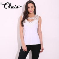 CELMIA Women Sexy Lace Crochet Blouse Summer Style Sleeveless V Neck Hollow Out Slim Fit Vest
