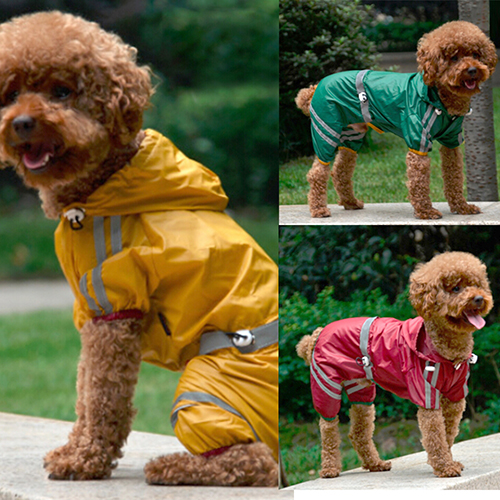 Puppy Pet Dog Raincoat Bar Hoody Waterproof Rain Jacket Coat Apparel Costume Store 51