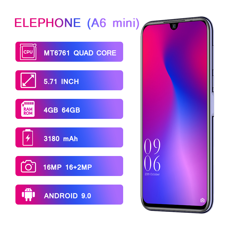 Elephone A6 Mini 5.71 Inch waterdrop Screen Mobile Phone Android 9.0 MT6761 Quad Core HD+ 4GB+32GB 16MP 3180mah 4G Smartphone-in Cellphones from Cellphones & Telecommunications    2