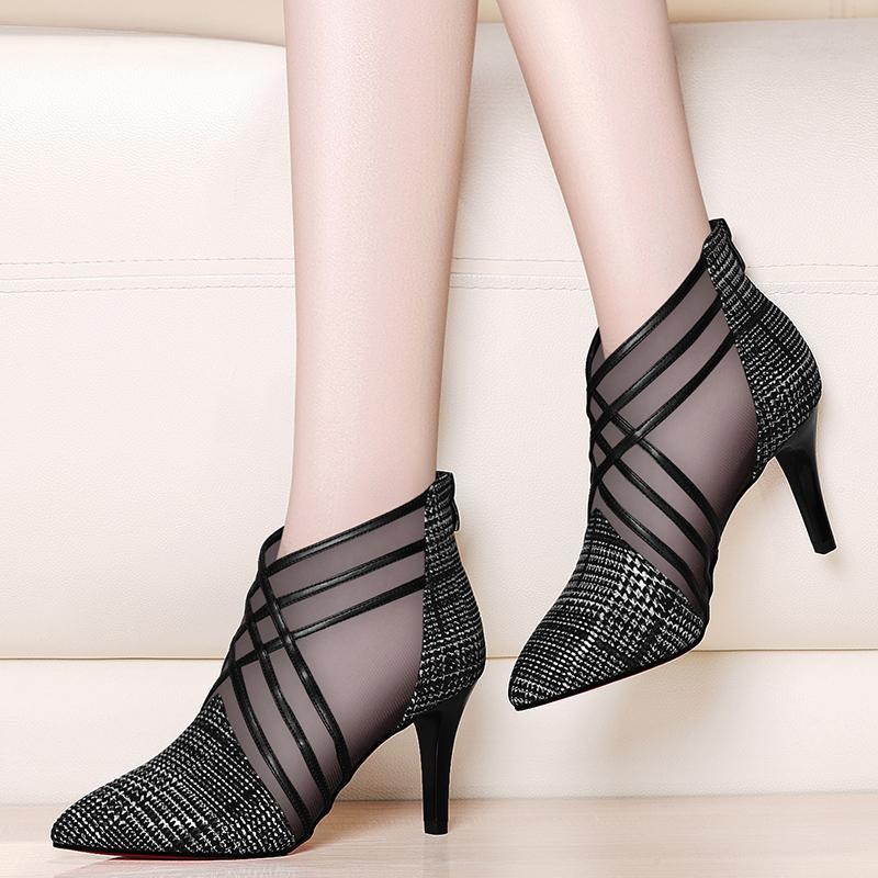2019 new arrived woman mesh ankle boots for women summer 10cm thin heels boots sandal ladies pointed toe shoes sandals sandalias