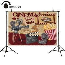 Allenjoy novie night party photography backdrop retro cinema background photophone photobooth photocall custom banner fabric