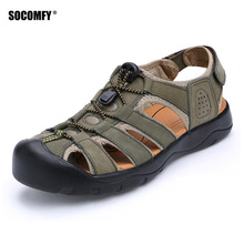 SOCOMFY Summer Brand Men Sandals Genuine Leather Hollow Breathable Non-slip Casual Outdoors Beach Shoes Fashion Slippers