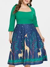 Wipalo Plus Size Square Neck Vintage Dress Women Autumn A-Line Party Dresses  Elegant Christmas Print Midi Dress Tunic Vestidos a2c4b7338