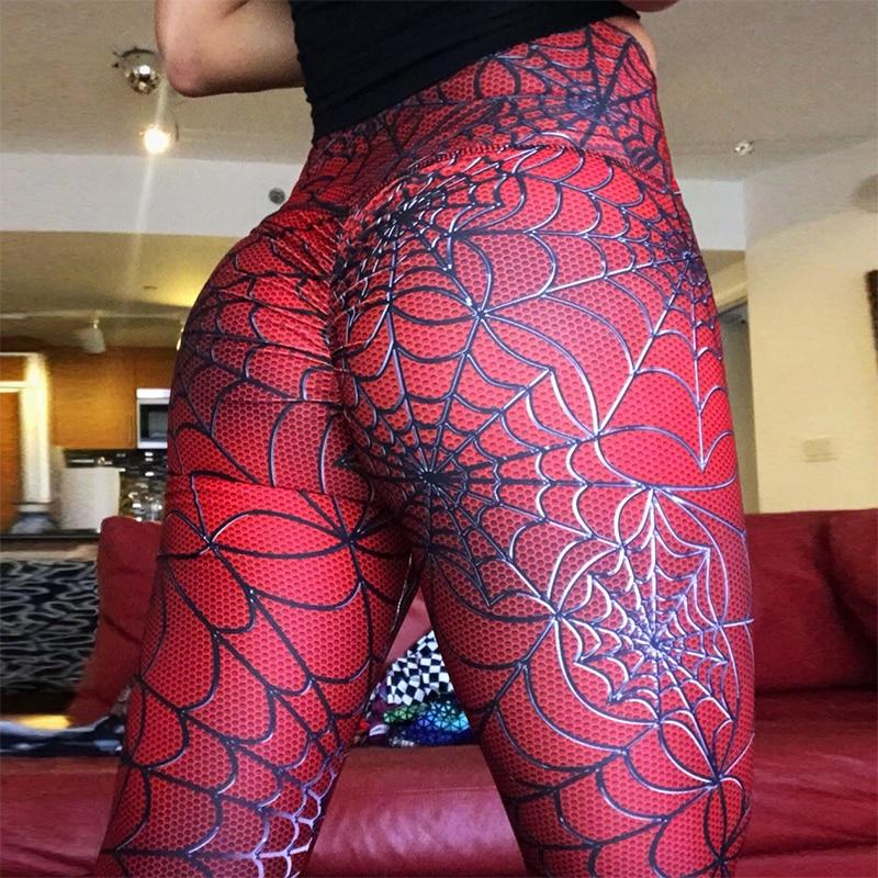 SVOKOR Leggings Women Solid Color New Spider Line Printing Leggings Polyester Hip High Waist Casual Slimming Fitness Legging