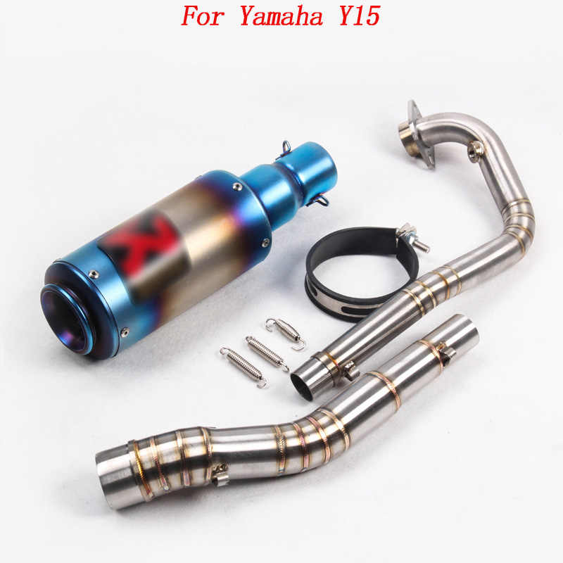 For Yamaha Y15 Motorcycle Exhaust Muffler Pipe Escape Motorbike Y15ZR  Exhaust Mid Link Pipe and End Pipe For Yamaha Y15ZR