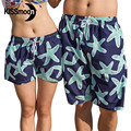 KISSyuer 2 pieces Couple sets Quick-drying Navy blue green starfish sea stars Romantic Couples women men board shorts KBS1212