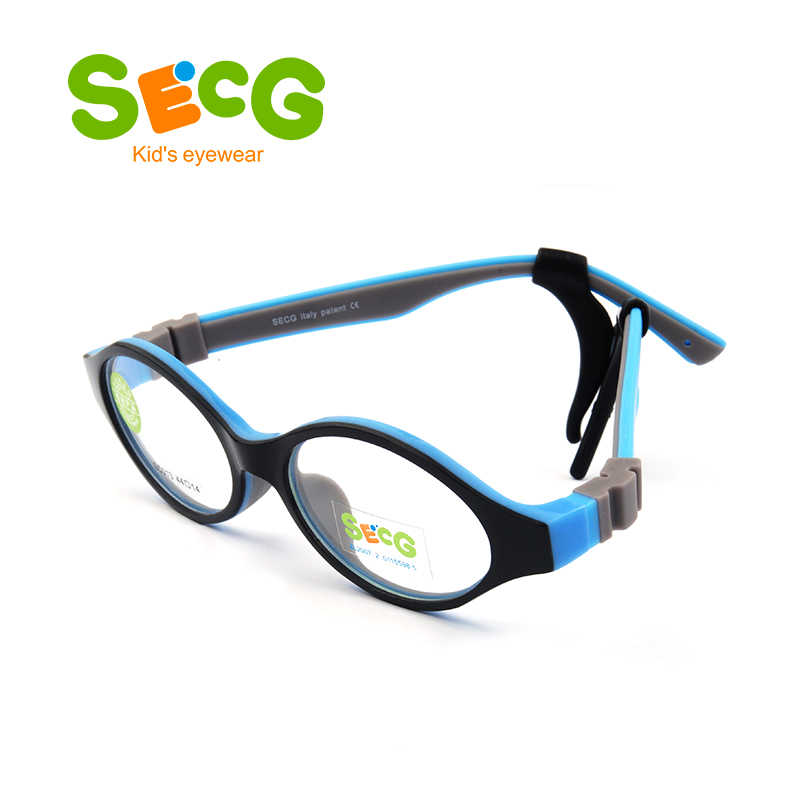 SECG Cute Round Optical Glasses Frame Soft Flexible Silicone Kids Glasses Transparent Children Frame Eyeglasses Spectacles