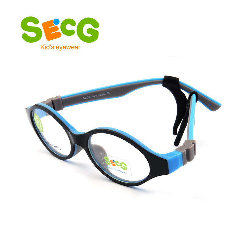 SECG Cute Round Optical Glasses Frame Soft Flexible Silicone Kids Glasses Transparent Children Frame Eyeglasses Spectacles
