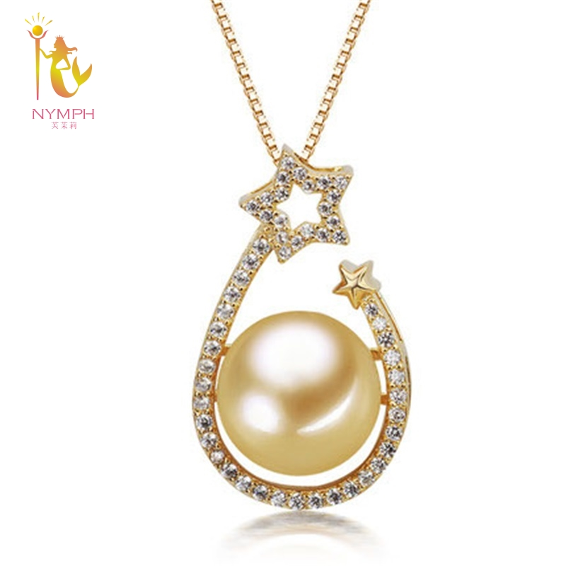 NYMPH genuine high quality 10.5-11mm round golden south sea pearl necklace&pendant with real 925 Siver,2018 new styleDZ634 цена 2017