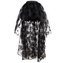 Victorian Black Floral Chiffon Lace Asymmetrical Steampunk Skirt Gothic Clothing Skirts Women Vintage Sexy Clubwear Plus Size