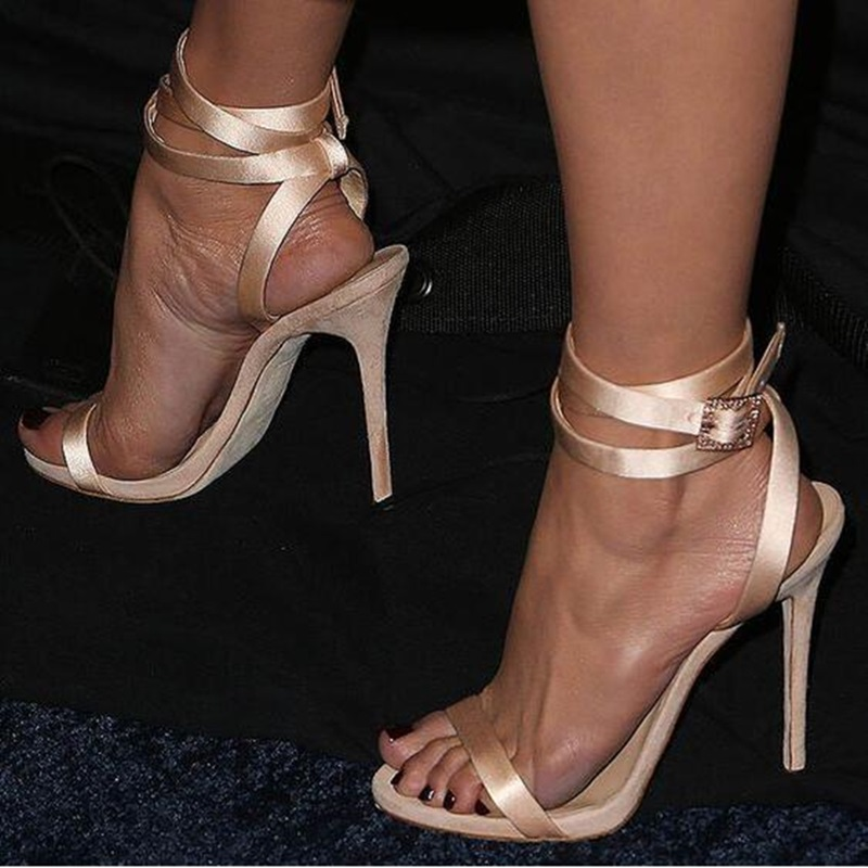 2019 Fashion Champagne Satin Cross Strap Women Sandals Cut out Peep Toe Crystal Buckle Wedding Shoes Bride Thin Heel Summer Shoe in High Heels from Shoes