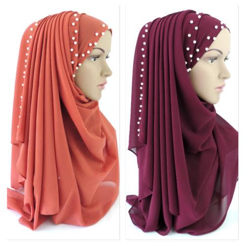 Chiffon Maxi Hijab Scarf Shawl Wrap Muslim Islam Headcover White Beads 170x70cm