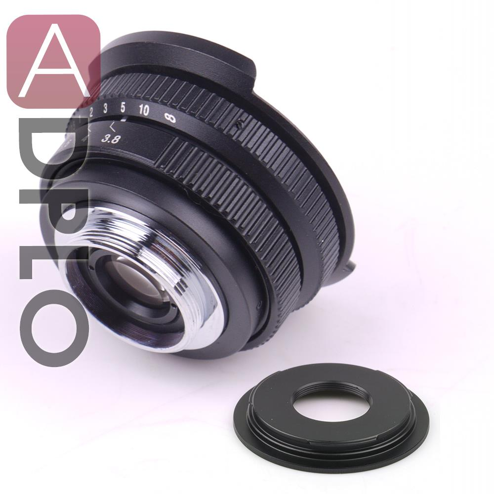 Fish eye Lens 8mm F3.8 For C Mount Camera + C to Micro M4/3 / NEX / N1 / Pentax Q /Fuji / M M2 Adapter Ring For DSLR Camera