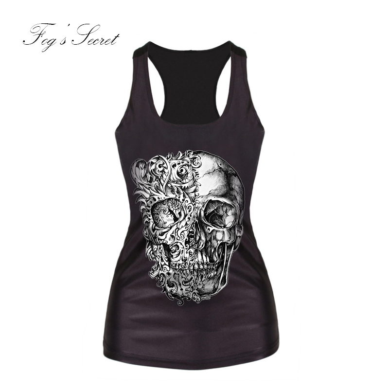 Cool Fashion T shirt For Female Slim Clothes Tops vest Cartoon Horror skull Women Digital Printing For Girl Clothes Summer