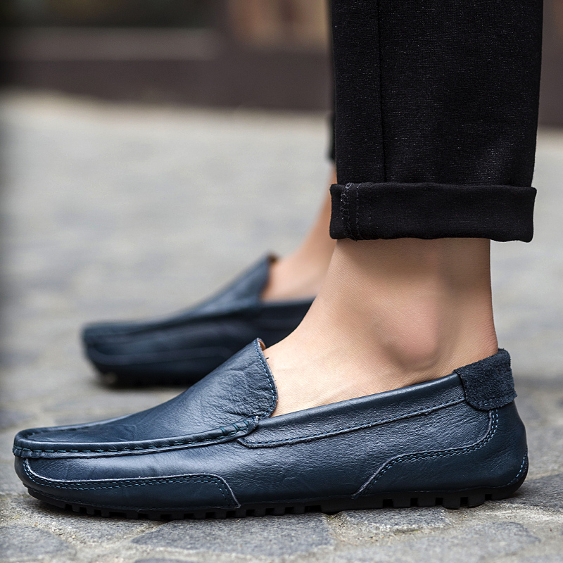 Image 5 - OZERSK Mens Casual Genuine Leather Shoes Summer Men Flat Walking Loafers Black Brown Man Luxury Slip on Boat Shoes Big SizeMens Casual Shoes   -