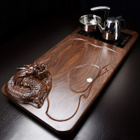 Solid wood tea tray Drainage water storage kung fu tea set Drawer tea room board table Chinese tea room ceremony tools