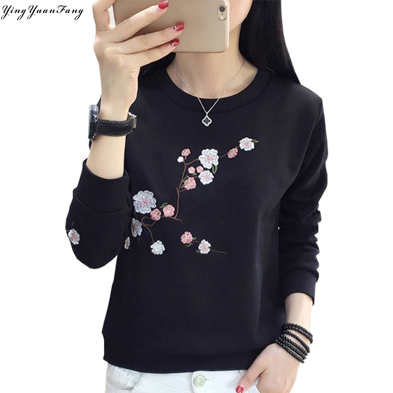 YingYuanFang Fashion new long-sleeved women's round neck embroidery cotton wild bottoming sweatshirts
