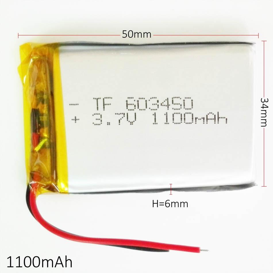 3.7 V 1100 mah 603450 Lithium Polymer Li-po Rechargeable Batterie Pour MP4 MP5 GPS PSP DVD mobile vidéo jeu PAD E-livres tablet PC