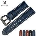 MAIKES качественный ремешок из натуральной кожи 22 мм 24 мм 26 мм модные синие аксессуары для часов Ремешок для часов Panerai