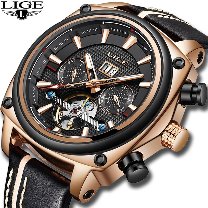 LIGE nouveaux hommes montre de luxe automatique montres mécaniques mâle militaire en cuir étanche montre hommes d'affaires horloge Erkek Kol Saati