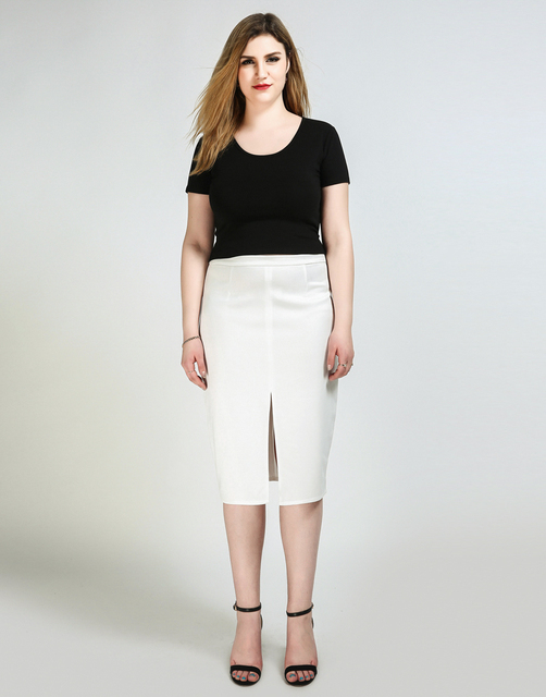 38e1e279da01f Women s Sexy Solid Basic Plus Size Pencil Skirt Split Design Front Casual  Midi Skirt Cocktail Party Summer Spring Wear