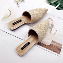Dropshipping 2019 Women Slippers Fashion Pointed Toe Weave Mules Shoes Flat Slides Summer Beach Flip Flop Outside Slip on Shoes