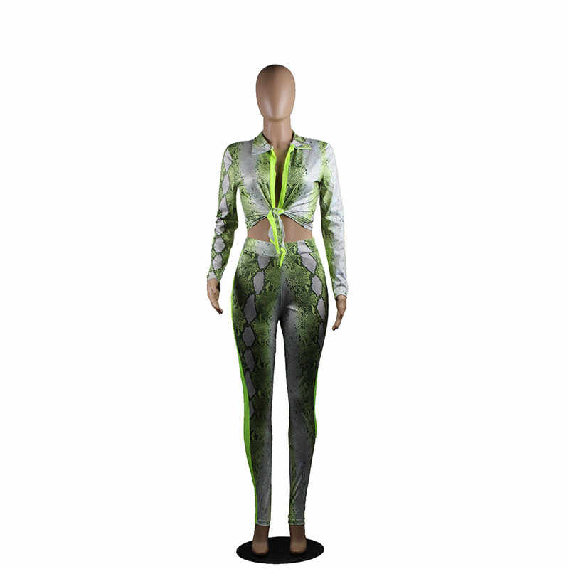 Snake Print Sexy 2 Delige Set Vrouwen Lange Mouw Tie Up Crop Top En Broek Pak Club Outfits Tweedelige bijpassende Sets Trainingspak