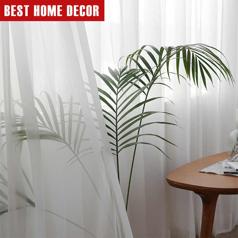 BHD Withe Tulle Curtains For Living Room Bedroom Modern Sheer Decoration Modern Chiffon Solid Sheer Voile Kitchen Curtain Drapes