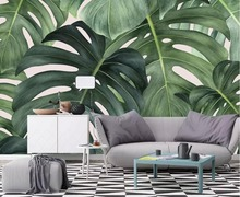 Beibehang Custom wallpaper Nordic style tropical leaves large banana leaf TV background wall home decoration murals 3d
