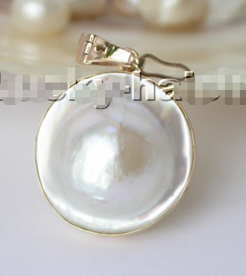 25mm Mer Du Sud blanche Mabe Perle collier pendentif