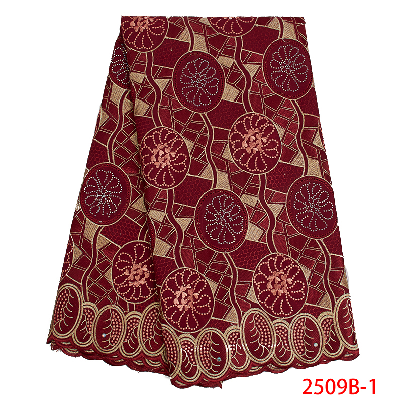 Nigeria Swiss Voile Laces Switzerland High Quality French Lace Embroidered Cotton African Lace Fabric With Stones KS2509B-1