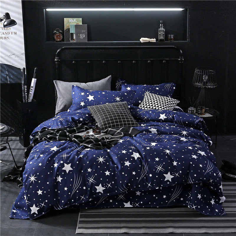 Star Owl Plaids 4pcs Bed Cover Set Cartoon Duvet Cover Adult Kids Boys Bed Sheets And Pillowcases Comforter Bedding Set 61001