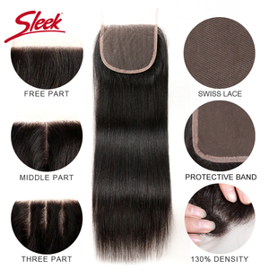 Image 4 - Sleek Brazilian Straight Hair Bundles With Closure Natural Color Hair Weave 8 28 30 Non Remy Human Hair 3 Bundles With Closure