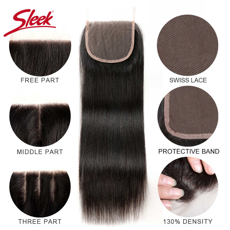 Sleek Brazilian Straight Hair Bundles With Closure Natural Color Hair Weave 8-28 30 Non-Remy Human Hair 3 Bundles With Closure